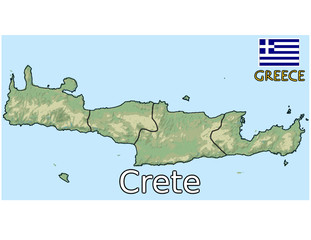 crete greece emblem map flag coat
