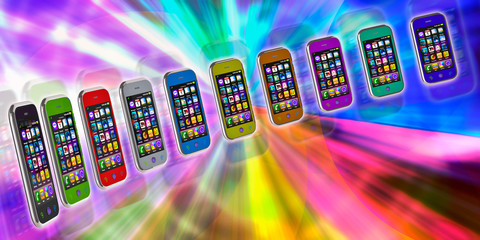 Several touchscreen smartphone on a colorful background. Cell Sm
