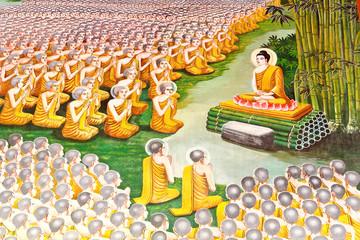 buddha metting with buddhist saint
