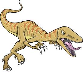 Self adhesive Wall Murals Cartoon draw Raptor Dinosaur Vector Illustration