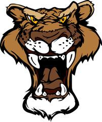 Cougar Panther Mascot Head Vector Cartoon