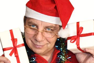 Santa  holding box