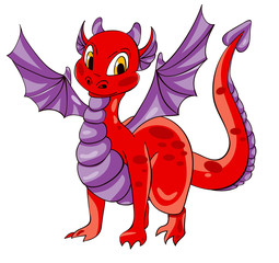 Red dragon with purple wings