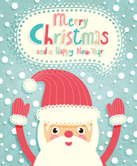Wall Mural - Funny Christmas postcard with Santa Claus.