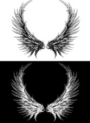 Silhouette of wings made like ink drawing