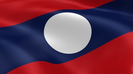 Laotian flag in the wind