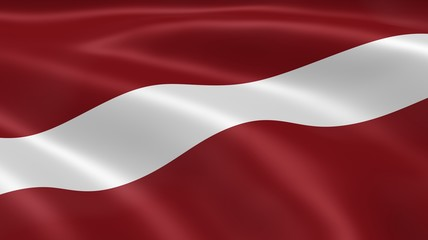 Latvian flag in the wind