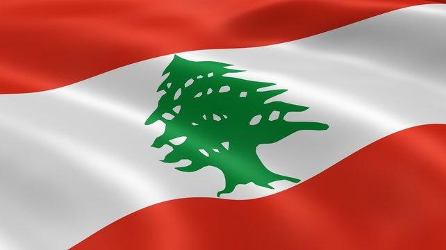 Lebanese flag in the wind