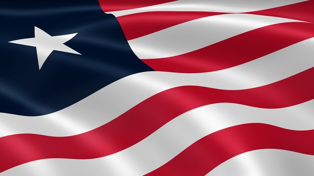 Liberian flag in the wind