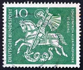 Postage stamp Germany 1961 St. George Killing the Dragon