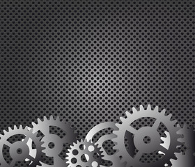 Metal background and gears vector illustration