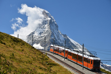 Wall Mural - Gornergrat train and Matterhorn (Monte Cervino), Switzerland lan