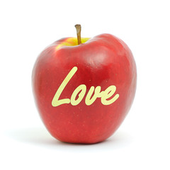 fresh red apple with love message