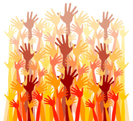 Large crowd of happy hands vector.