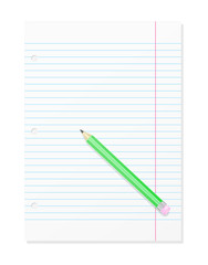 Blank Workbook Page With Pencil