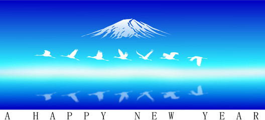 Fuji Mt. for happy new year, vector image
