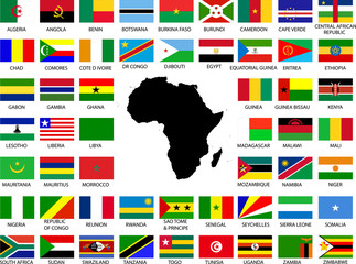 Collection of African flags with continent - vector