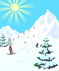 Illustration of winter sport resort