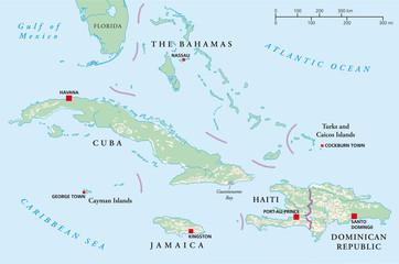 Bahamas, Cuba, Haiti, Jamaica and Dominican Republic political map. Illustration. Vector.