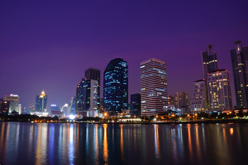 Bangkok city night view with reflection