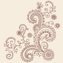 Flowers Henna Doodle Vines Vector Design Elements