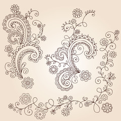 Swirly Henna Doodles Vector Design Elements Set