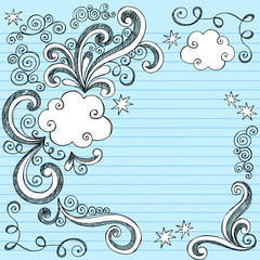 Cloud Sketchy Doodle Vector Page Border Design Elements