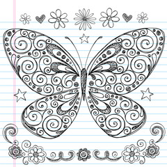 Sketchy Notebook Doodle Butterfly