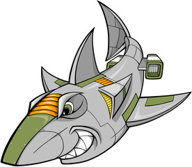 Robot Cyborg Shark Vector Illustration art