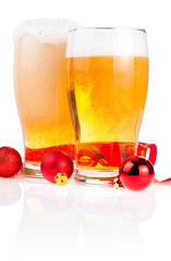 Two glasses fresh lager beer, Red ribbon and Christmas Balls iso
