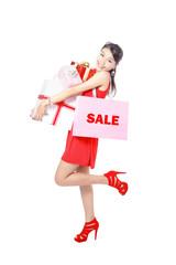Shopping woman happy take big shopping bag and gift