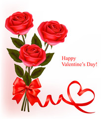 Valentine background. Red roses and red bow.