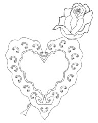 Sketch of rose and heart shaped object