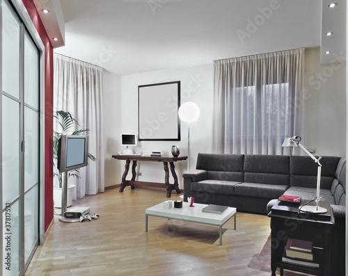 """""""soggiorno moderno con divano grigio e parquet"""" Immagini e Fotografie Royalty Free su Fotolia ..."""