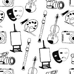 doodle art seamless pattern