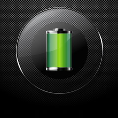 Metal background with glass FULL BATTERY button