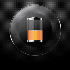 Metal background with glass HALF FULL BATTERY button