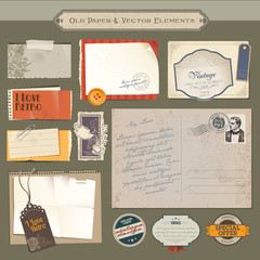 Collection of vintage paper and vector elements