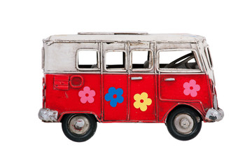 Toy colorful bus of metal