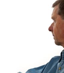 Senior male profile isolated