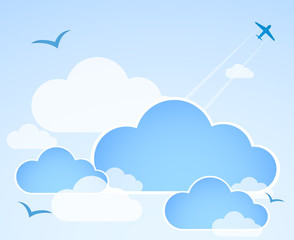 Blue sky with clouds. Illustration