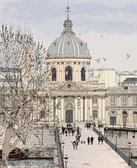 Poster Illustration Paris Pont des arts in Paris