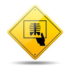 Señal amarilla simbolo radiografia