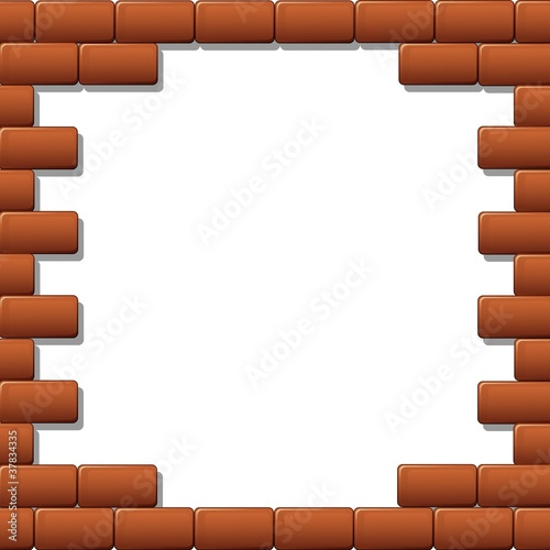 Quot Cornice Muro Mattoni Rossi Red Bricks Wall Frame Vector