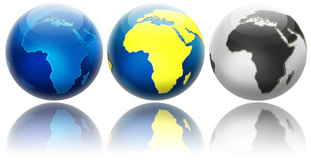 Three different colors globe variations Africa