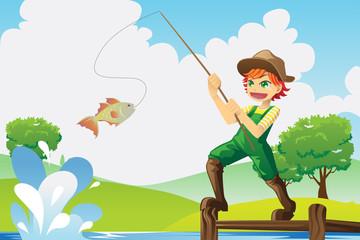 Canvas Prints River, lake Boy going fishing