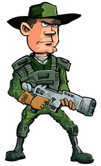 Tuinposter Militair Cartoon soldier with a automatic rifle