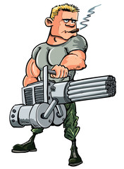 Aluminium Prints Military Cartoon soldier with a mini gun
