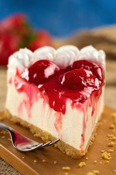 Fresh strawberry cheesecake (Selective Focus)