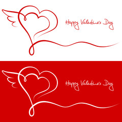 Valentines Cards 2 Hearts & Wing Red